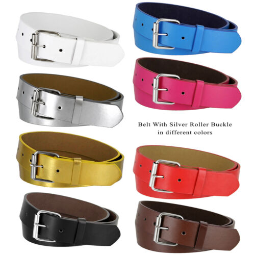 """B570 - Genuine Leather Casual Jean Belt Strap with Rollerbuckle, 1-1/2"""" Wide"""