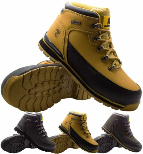 MENS MAXSTEEL LEATHER SAFETY WORK BOOTS STEEL TOE CAP ANKLE HIKER  SHOES SIZE <br/> RRP £49.99- ORDER NOW FOR FAST DELIVERY- BARGAIN PRICE