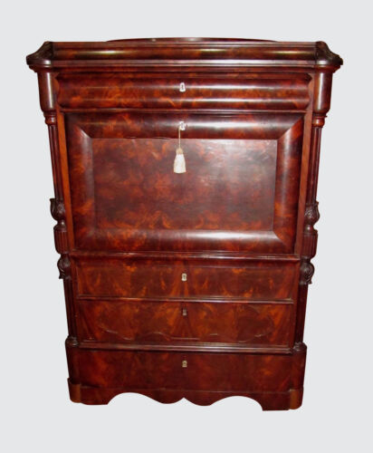 19TH C BIEDERMEIER ANTIQUE SECRETARY DESK ABATTANT ~~ THE BEST MAHOGANY