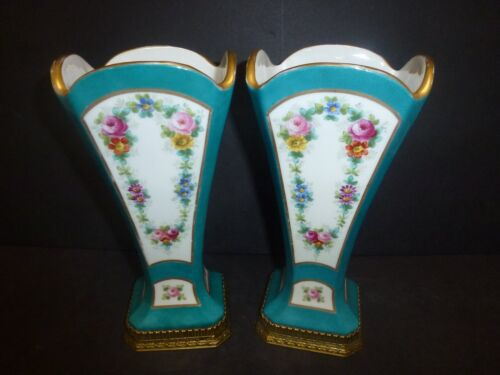 Pair of Antique Sevres French Porcelain/Bronze Vases