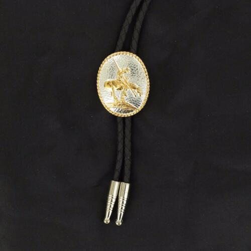 Double S Western Mens Bolo Neck Tie Oval  End Of Traill Silver Gold 22275