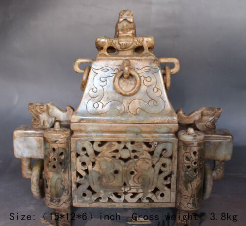 Ancient Chinese old jade dragon palace incense burner, hollow out jade ding
