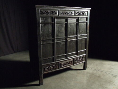 Beautiful Chinese Black Walnut Warrior Cabinet Antique