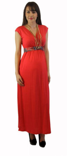 Red Coral Maternity Dress With Cloth Belt S M L XL