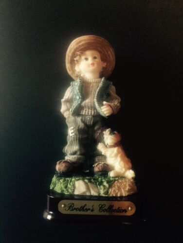 "Brother's Collection 3.75"" Figurine Country / Boy / Child / Young / Dog / Hat /"
