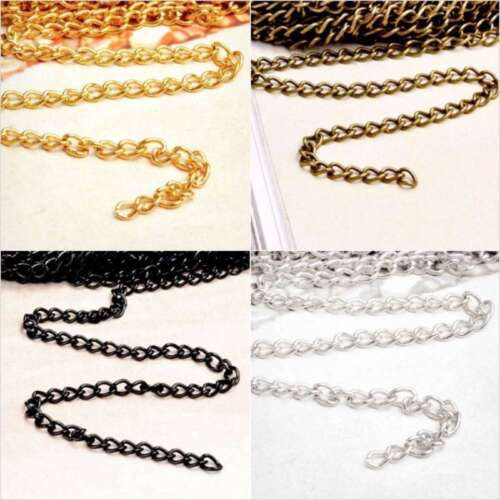 4m DIY Iron Fashion Unfinished Curb Link Chains fit Jewelry Necklace Wholesale