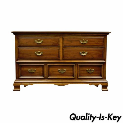Vintage Kent Coffey Carriage Trade Cherry Pecan Double Dresser Chest Credenza