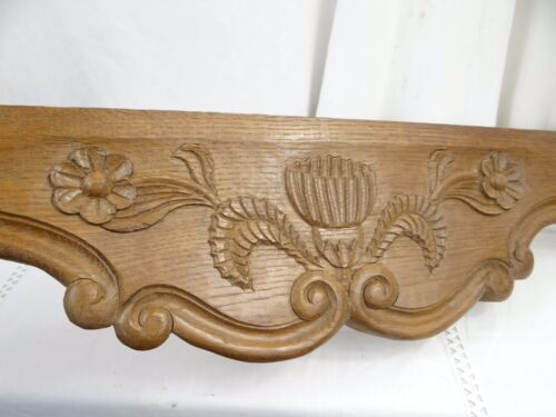 """21""Antique French Oak Wood Carved Pediment Panel Ornament -Thistle and flowers"