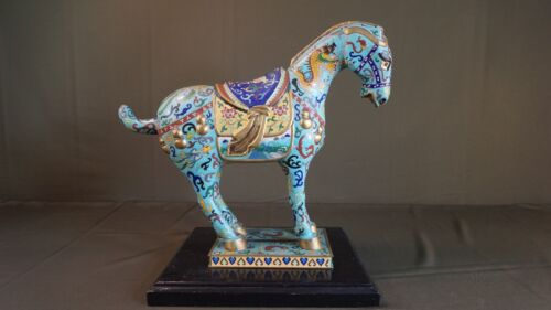 Very Fine Large Chinese Early 1900 Late Qing Dynasty Cloisonne Horse