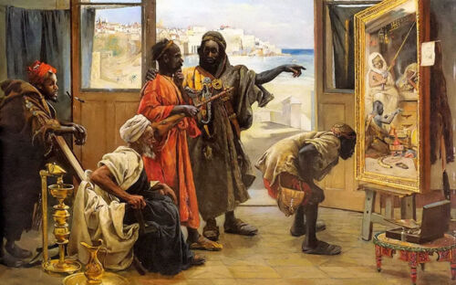 """Oil painting karoly brocky - the connoisseurs arabs portraits with art work 36"""""""