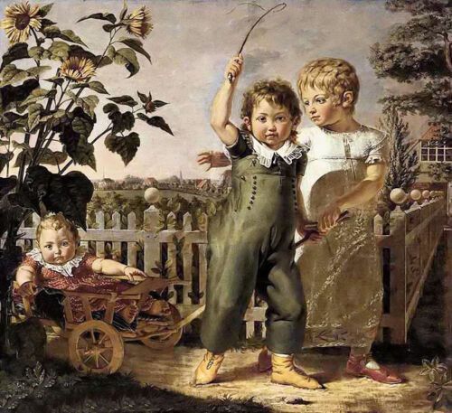 Oil painting philipp otto runge - the children playing in landscape no framed @@