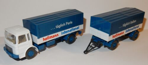 WIKING HO 1/87 CAMION MAN DIESEL + REMORQUE HELLMANN INTERNATIONAL 1