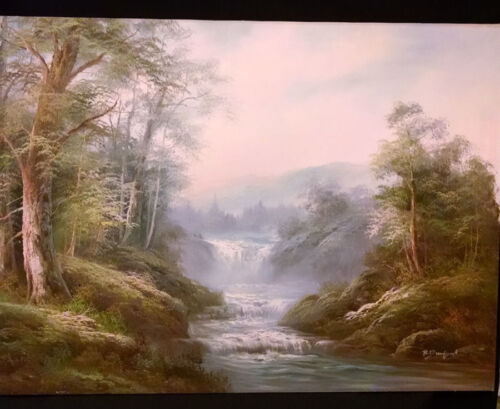 ORIGINAL OIL PAINTING BY R.DANFORD 1960. OF A BEAUTIFUL WATERFALL $999.00 24X36