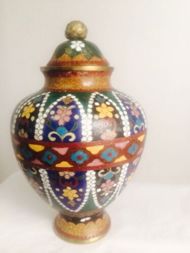Antique Cloisonné Tea Caddy Lidded w/ Lotus Finial - Very Fine Intricate Design
