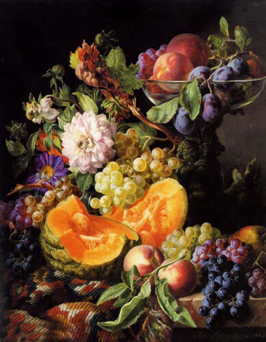 Oil Peaches Plums Grapes Melon & Autumn Flowers on draped marble ledge on canvas