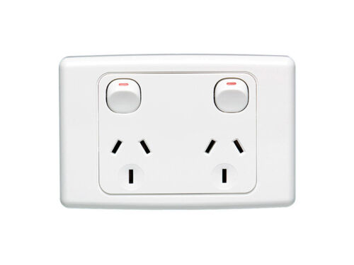 Clipsal 2025 RED Red Socket Outlet Double Twin 10A power-point GPO Series 2000 x