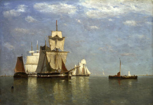Oil painting paul jean clays - Ships lying off Flushing seascape with sail boats