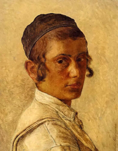 Oil painting isidor kaufmann - portrait of a young orthodox boy free shipping