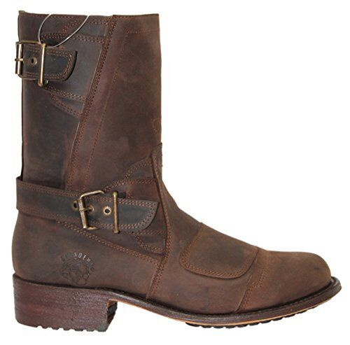 Grinders Mens Brown Casual Zip Style Biker Route 66 western Leather Boots shoes