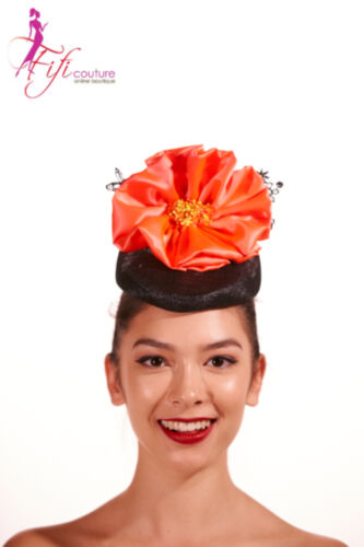 Black Fascinator with Large Orange Flower & Lace Back - Made in Aussie - A025