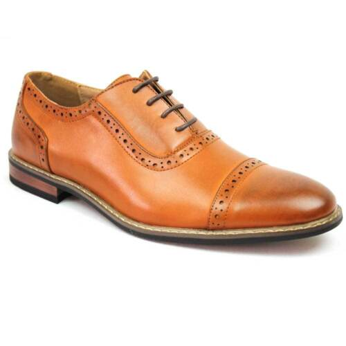 New Men's Brown Dress Shoes Cap Toe Lace Up Oxfords Leather Lining Parrazo