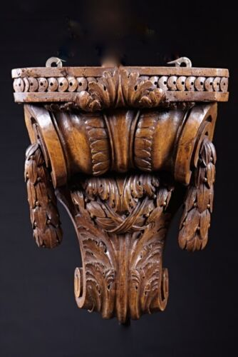 Big French Louis XVI Carved Walnut Wall Bracket, 18th Century, Excellent Example