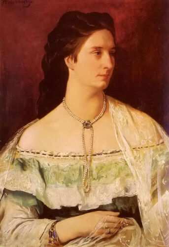 Oil painting Max Liebermann - portrait of a lady wearing a pearl necklace canvas