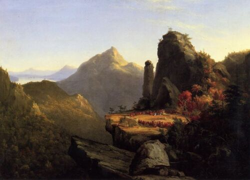 Oil painting Imaginary scene from The Last of the Mohicans mountains landscape