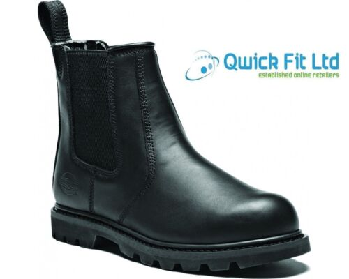 MENS DICKIES BLACK CHELSEA LEATHER SAFETY STEEL TOE CAP WORK BOOTS TRAINERS SIZE <br/> FAST DESPATCH – QUALITY PRODUCTS – SPECIAL PRICE