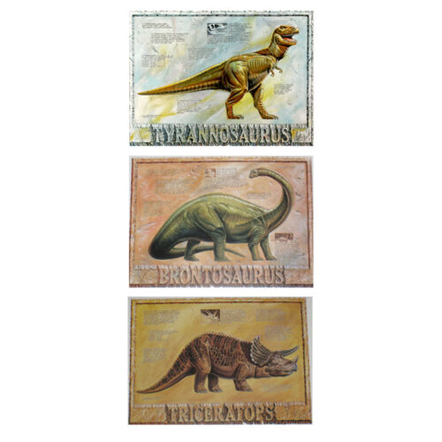 LOT OF 3 DINOSAUR POSTERS SET 30 x 22 EACH BRONTOSAURUS T-REX AND TRICERATOPS