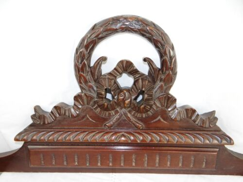 """33"" French Antiquity Pediment architectural Crown Mahogany Wood Crest - Ribbon"