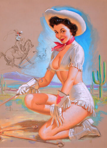 1940s Pin-Up Girl Desert Cactus Cowgirl Picture Poster Print Art Pin Up