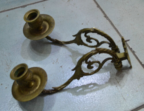 1950's  Made in France Paris Brass Wall Sconces
