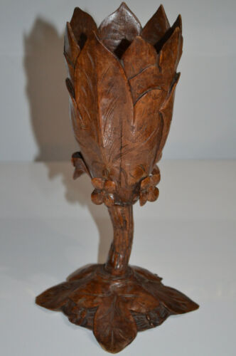 BEAUTIFUL BLACK FOREST HAND CARVED WOOD VASE WITH FLOWER BRIENZ c1900