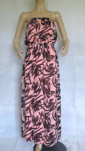 NEW LADIES ROCK & REVIVAL PINK/BLACK STRAPLESS BANDEAU MAXI DRESS SIZE 16