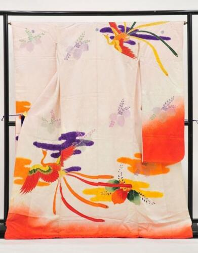 Kimono Furisode Wedding Kakeshita Phoenix Bird on White 100% Silk
