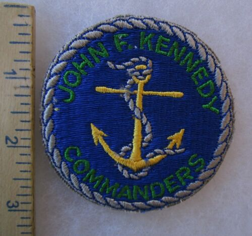 ORIGINAL Vintage JOHN F. KENNEDY COMMANDERS Cut Edge PATCH with ANCHOR