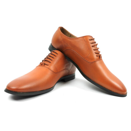 Men's Cognac Brown Round To Lace Up Dress Shoes Oxfords Dotted Formal AZAR MAN