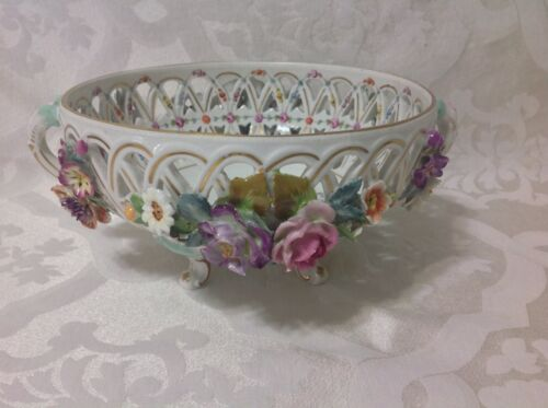 1902 Beautiful Lg Dresden Ger Floral Footed Handled Carl Theime Bowl; Excellent