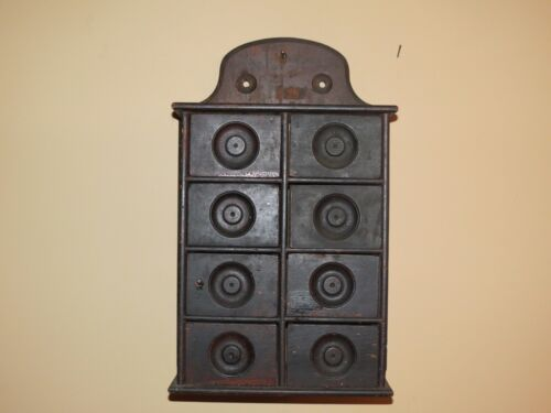 Antique 8 Drawer Stenciled Wood Wall Spice Apothecary Cabinet Original 1800's