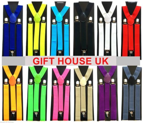 ADJUSTABLE BRACES MENS WOMENS UNISEX TROUSER ELASTIC Y-BACK SUSPENDERS CLIPON B3 <br/> FREE BANDANNA WHEN YOU BUY TWO SETS OF BRACES !!