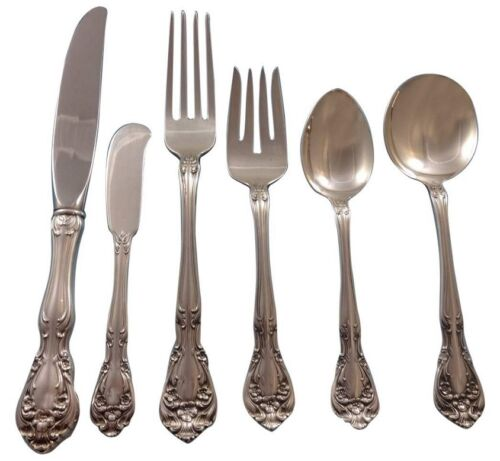 Chateau Rose by Alvin Sterling Silver Flatware Set For 8 Service 53 Pieces