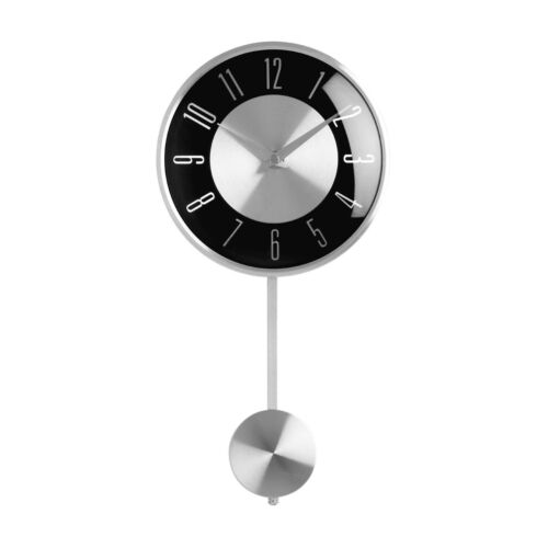 Pendulum Wall Clock Silver Black Face Analogue Clock Home Office Decor Brand New