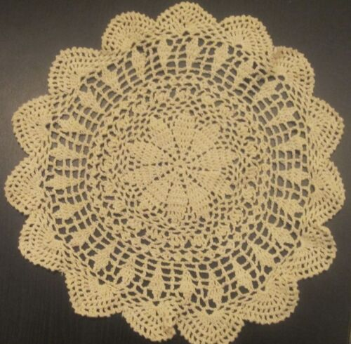 "6 PCS 12"" Round   Crochet Lace Doily COLOR BEIGE 100 % COTTON"