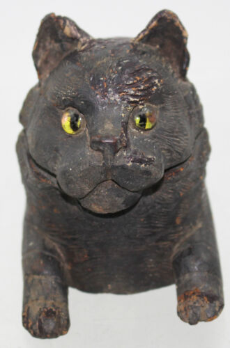 RARE CARVEDBLACK FOREST FIGURAL CAT INKWELL