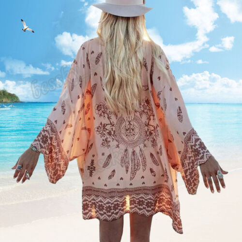 NEW Women Boho Printed Cover up Chiffon Tops Loose Shawl Kimono Cardigan Blouse