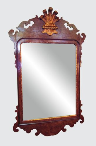 COLONIAL WILLIAMSBURG CHIPPENDALE MIRROR IN BURLED WALNUT WITH GOLDEN PLUME