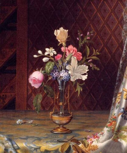 Oil Martin Johnson Heade - Vase of Mixed Flowers on the table free shipping art