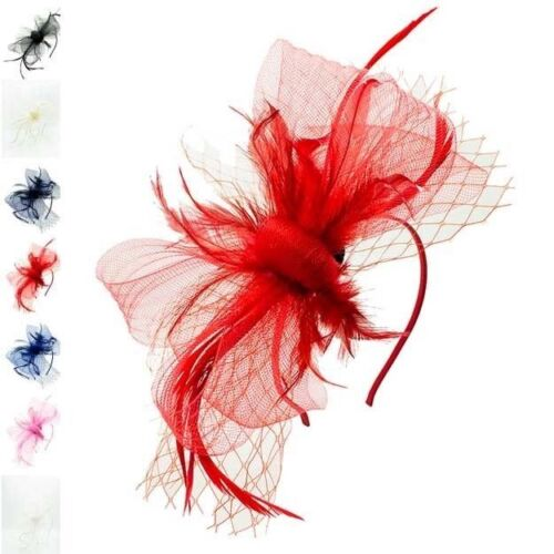 Flower Feather Hair Hat Fascinator Headband Clip Mesh Wedding Royal Ascot Formal