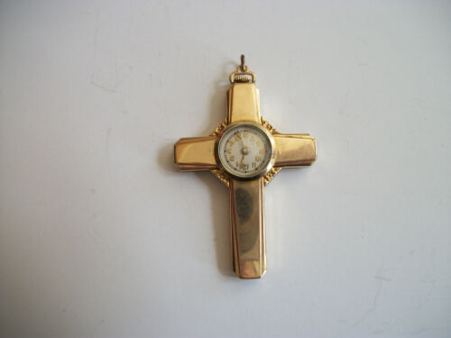 vintage 1940 Galmor Watch Co gold filled Cross Watch Pendant necklace 7 jewels